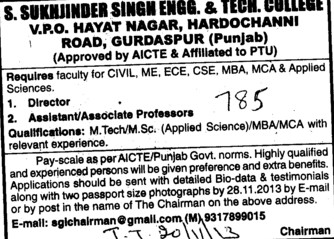 Director and Associate Professor (Sukhjinder Singh Engineering and Technology College)