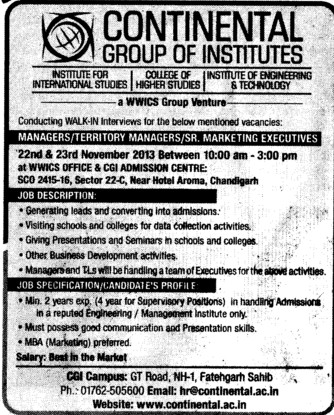 Senior Marketing Executives (Continental Group Institute Jalvehra)