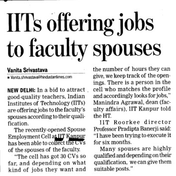 IITs offering jobs to faculty spouses (Indian Institute of Technology (IITK))