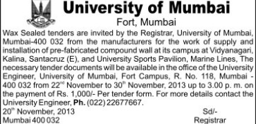 Installation of Pre fabricated compound (University of Mumbai (UoM))
