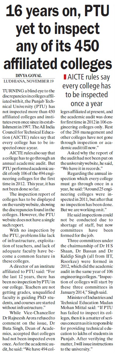 16 years on, PTU yet to inspect any of its 450 affiliated colleges (Punjab Technical University PTU)