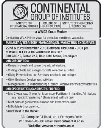 Marketing Executives (Continental Group Institute Jalvehra)