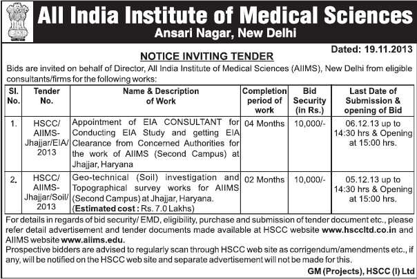 EIA consultant (All India Institute of Medical Sciences (AIIMS))