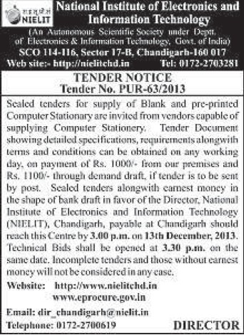 Supply of Computer Stationery (National Institute of Electronics and Information Technology (NIELIT))