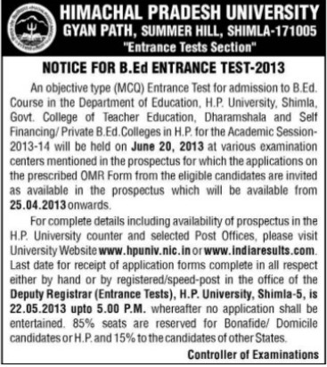 B Ed Entrance Test 2013 (Himachal Pradesh University)