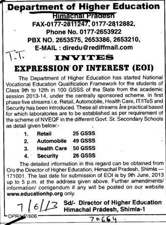 Health care and Security services (Directorate of Higher Education Himachal Pradesh)