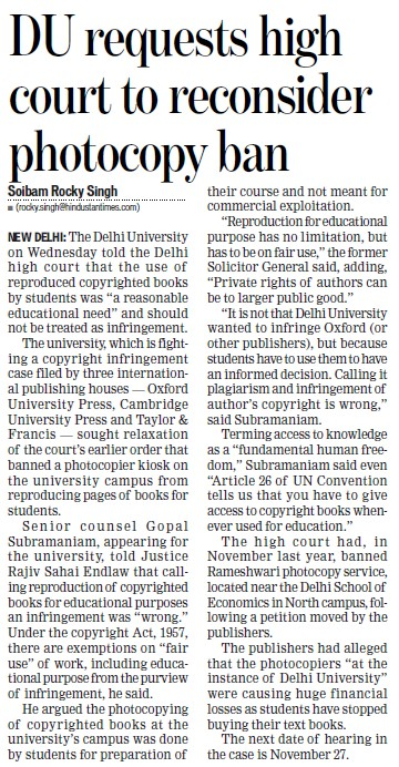DU request HC to reconsider photocopy ban (Delhi University)