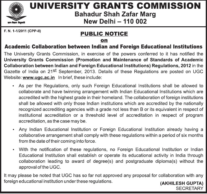 Academic Collaboration between Indian and Foreign Educational Institutions (University Grants Commission (UGC))