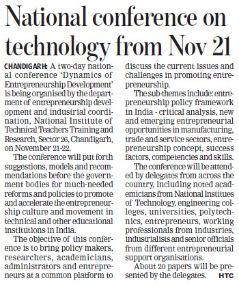 National conference on Technology from Nov 21 (NITTTR)