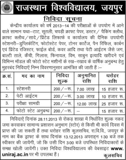 Supply of Stationery items (University of Rajasthan)