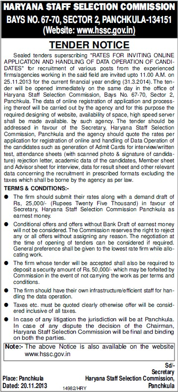 Online application of data operation (Haryana Staff Selection Commission (HSSC))