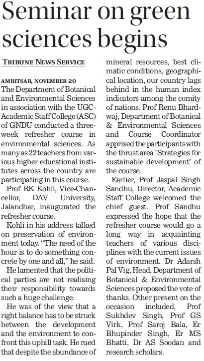 Seminar on green sciences begins (Guru Nanak Dev University (GNDU))