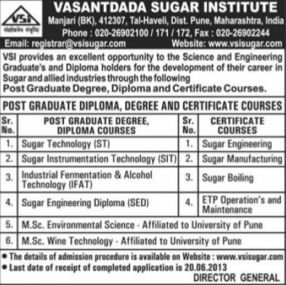 PGD in Sugar Technology (Vasantdada Sugar Institute (VSI))