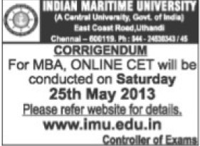 Changes in admission examination (Indian Maritime University)