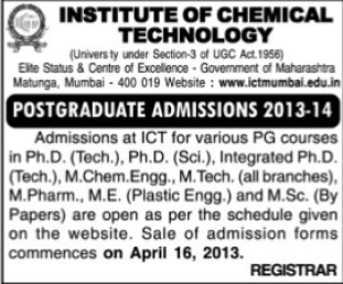 PhD and M Tech courses (Institute of Chemical Technology)