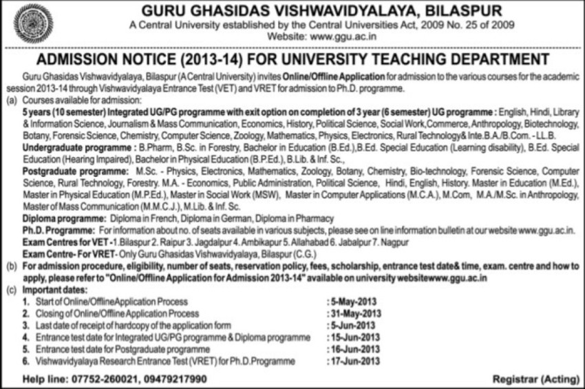 Diploma in German and Pharmacy (Guru Ghasidas University)