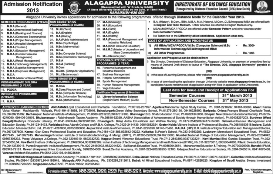 MSW, MCA and M Com courses (Alagappa University)