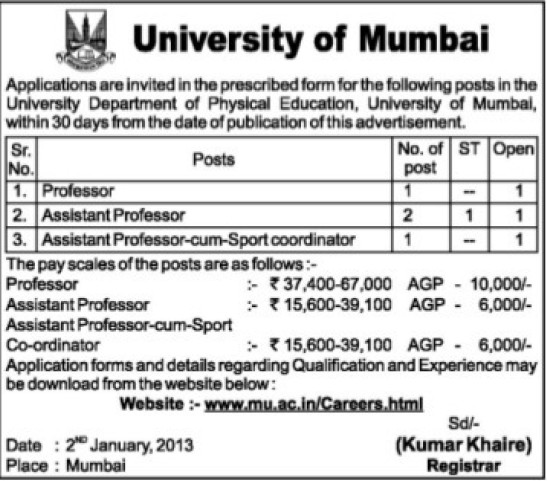 Asstt Professor (University of Mumbai)