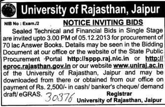 Supply of 70 lakh answer sheets (University of Rajasthan)