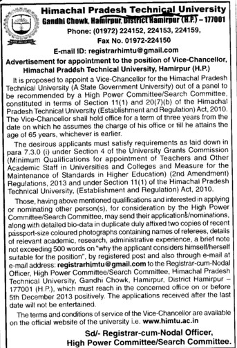 Vice Chancellor (Himachal Pradesh Technical University HPTU)