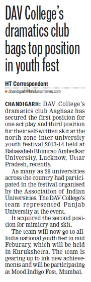 Dramatics club bags top position in youth fest (DAV College Sector 10)