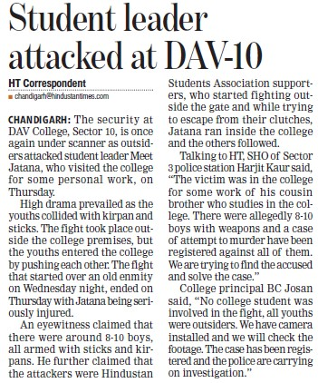 Student leader attacked at DAV Sec 10 (DAV College Sector 10)