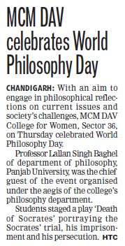 World Philosphy day celebrated (MCM DAV College for Women)