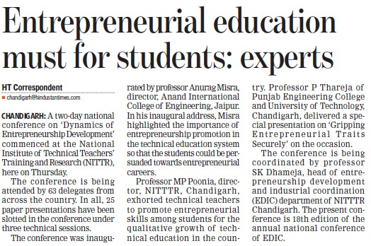 Entrepreneurial education must for students, experts (NITTTR)