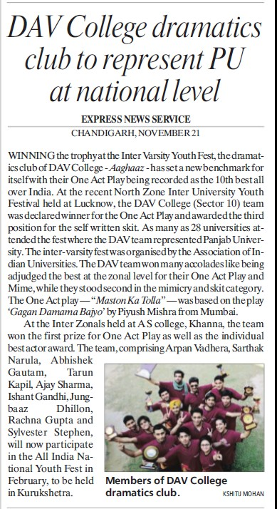 College dramatics club to represent PU at National level (DAV College Sector 10)