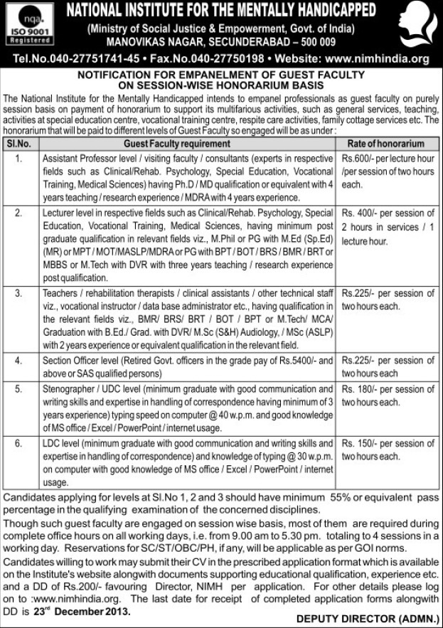Section Officer and Asstt Professor (National Institute for the Mentally Handicapped (NIMH))