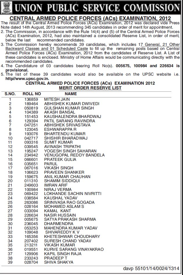 Central Armed Police Forces Examination 2012 (Union Public Service Commission (UPSC))