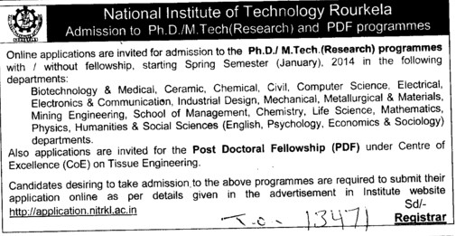 PhD and Research Programmes (National Institute of Technology (NIT))
