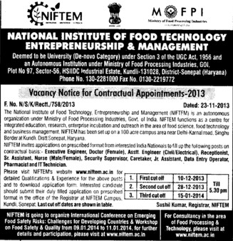 Senior Asstt Nurse (National Institute of Food Technology Entrepreneurship and Management (NIFTEM))