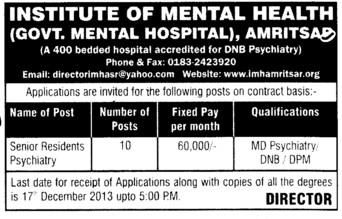 Senior Residents Psychiatry (Institute of Mental Health (Government Mental Hospital))