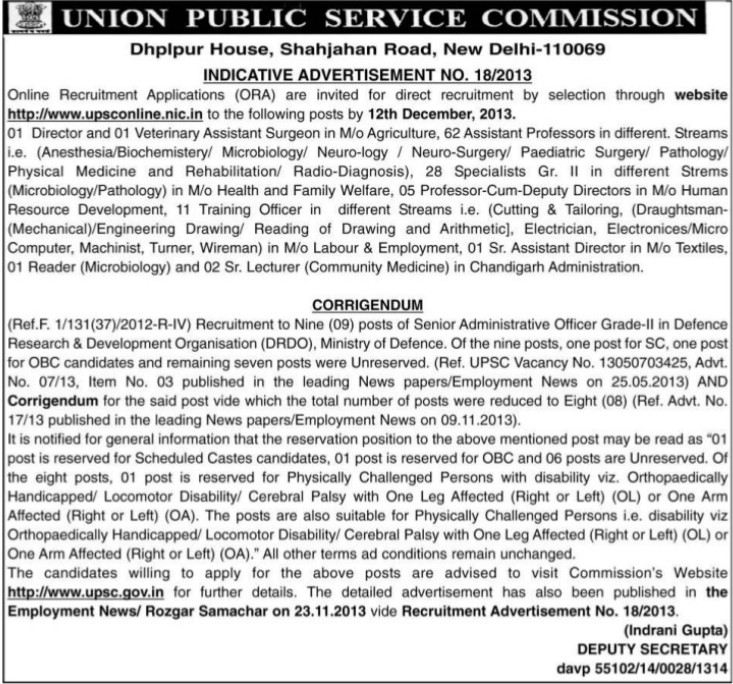 Director and Veterinary Asstt Surgeon (Union Public Service Commission (UPSC))