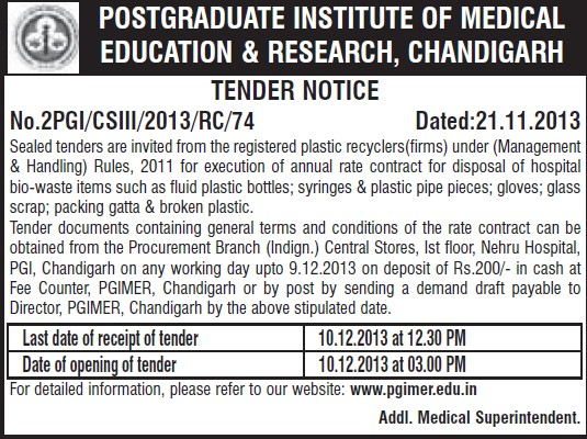 Supply of Plastic bags and Syringes (Post-Graduate Institute of Medical Education and Research (PGIMER))