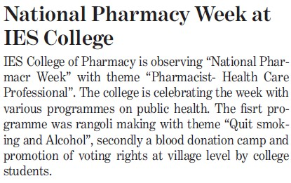 National Pharmacy week at IES College (IES College of Pharmacy)