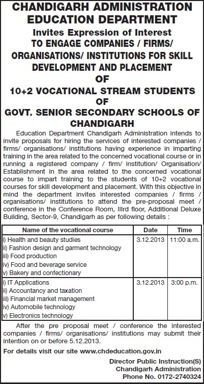 Food production and confectionary (Education Department Chandigarh Administration)