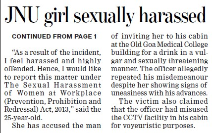 JNU girl sexually harassed (Jawaharlal Nehru University)