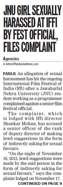 JNU girl sexually harassed at IFFI by fest official, files complaint (Jawaharlal Nehru University)