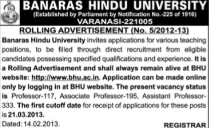 Various teaching posts (Banaras Hindu University)