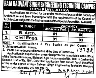 Asstt Professor for Civil Engineering (RBS Engineering Technical Campus Bichpuri)