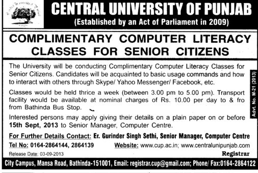 Complimentary computer literacy classes for senior citizens (Central University of Punjab)