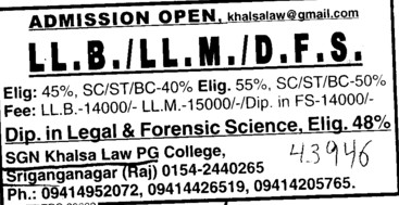LLB, LLM and DFS courses (SGN Khalsa Law PG College)