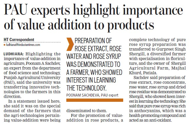 PAU experts highlight importance of value addition to products (Punjab Agricultural University PAU)