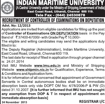 Controller of Examination on deputation basis (Indian Maritime University)