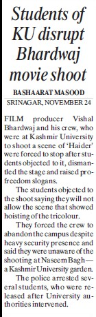 Student discrupt of Bhardwaj movie shoot (Kashmir University)