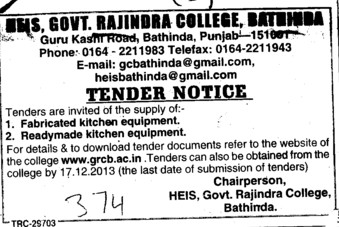Supply of fabricated kitchen equipments (Government Rajindra College)