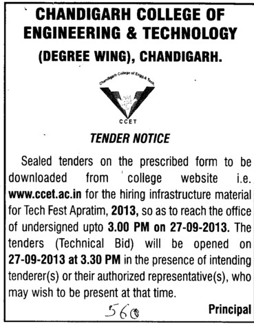 Hiring of Infrastructure material (Chandigarh College of Engineering and Technology (CCET))
