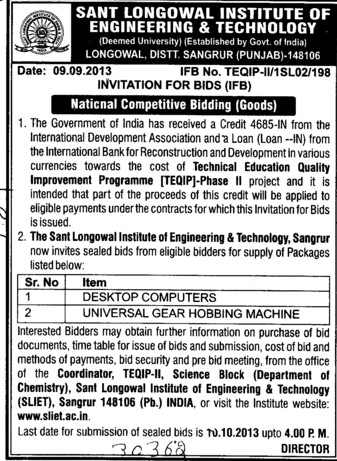 Supply of Dekstop computers (Sant Longowal Institute of Engineering and Technology SLIET)